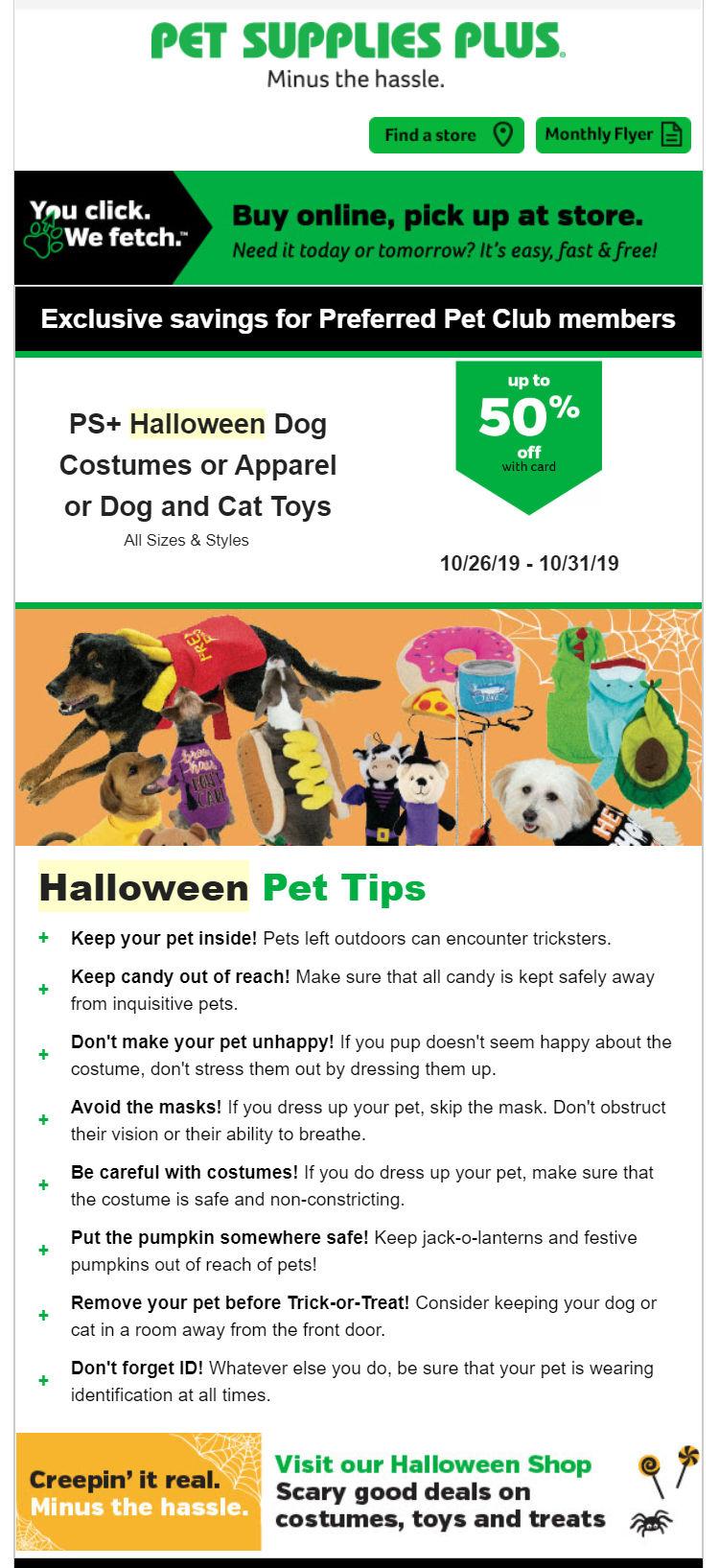 Pet Supplies Plus email campaign